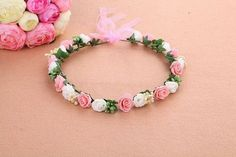 Mori Girl Series wedding bridal girls Hair Accessories wreath flower floral crown for women head rose tiara Garland hh5005