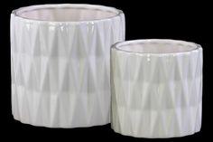 2 Piece Ceramic Cylindrical Round Vase Set