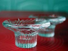 Pair of Iittala Poppa Glass Candlesticks in by FinntageFromFinland
