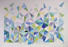 Triominos – Art by Anja Watercolor, Quilts, Blanket, Art, Pen And Wash, Art Background, Watercolor Painting, Quilt Sets, Kunst