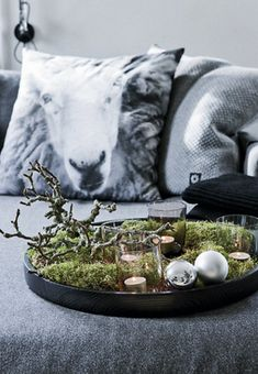 Mossy Woodland Christmas Vignette with Branches, Candles and Glass Baubles