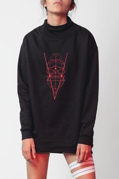 Inspired by Sacred Geometry the symbolic language that is created from the relationship between mathematics and nature. Unisex sweatshirt relaxed fit funnel neck sweatshirt with ribbed finishes.    Model is wearing size S.     Sacred Geometry Sweatshirt by Mexicana. Clothing - Sweaters - Sweatshirts & Hoodies Mexico City Mexico