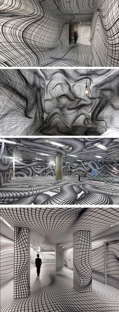 Vertigo-Inducing Room Illusions by Peter Kogler Op Art, Illusion Kunst, Optical Illusion Art, Optical Illusions Drawings, Illusions Mind, Mirror Illusion, Modern Art, Contemporary Art, Art Design