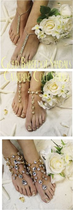 gold barefoot sandals, gold wedding foot jewelry, gold wedding shoe accessorie Catherine Cole Studio #barefoot sandals