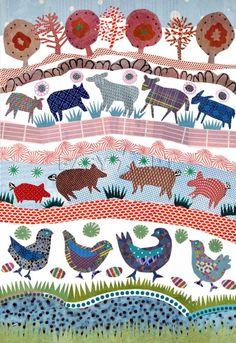 Farmyard - Jane Robbins Prints - Easyart.com