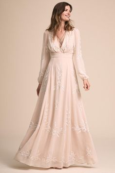 Wedding Dress BHLDN Belize Dress by BHLDN - Search our photo gallery for pictures of wedding dresses by BHLDN. Find the perfect dress with recent BHLDN photos. Bhldn Wedding Dress, Gorgeous Wedding Dress, Fall Wedding Dresses, Wedding Dress Sleeves, Boho Wedding Dress, Bridal Gowns, Bridesmaid Dresses, Dresses With Sleeves, 1970s Wedding Dress