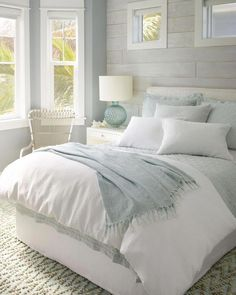 Linen bedding keeps you cool in the summer and gets softer and softer the more you wash it. Pair this Sky Linen Quilt from Pine Cone Hill with a classic white comforter and sheets and you'll feel like your sleeping on a cloud! Coastal Bedrooms, Luxurious Bedrooms, Coastal Master Bedroom, Bedroom Black, Master Bedrooms, Pottery Barn Bedrooms, Beach Bedrooms, Royal Bedroom, Bedroom Brown