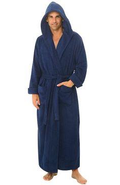 Del Rossa Men s Terry Cloth Cotton Hooded Full Length Bathrobe aa1161548