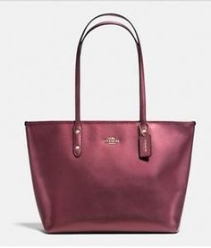 507e85f821b9 Coach F37153 Zip Top Tote in Metallic Crossgrain Leather Cherry Red Cheap  Handbags