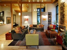 With a color palette inspired by autumn, the Gathering Room of HGTV® Dream Home 2011 is cozy & rustic.