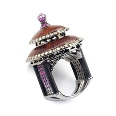 Fantasie Temple of Heaven Ring -Beautifully carved ebony embellished with brown diamonds and pink sapphires forms the crown of this charming structure, inspired by the Beijing Temple of Heaven. By Annoushka