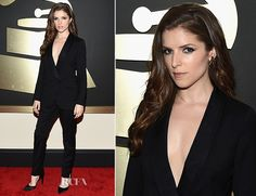 Anna Kendrick at the 2015 Grammy Awards. I don't know where to pin this. I love her whole look. It's so elegant and clean and sexy. She looks great. I love her.