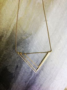Gold Deco Geometric Triangle Necklace by Loop Jewelry
