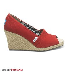 """Katie Couric's Shoe Picks — Toms wedges: """"My assistant has these and I want a pair—such a great cause and cute!"""""""
