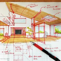 図面描きながら、スケッチでも検討 すごくいい感じになって来ました  #sketch #sketcheveryday  #手描き #手描きスケッチ #図面 #検討中 #リビング #岡崎市 #インテリア  #オーダーハウス #注文住宅 #設計事務所 #フィールドの家 Interior Architecture Drawing, Architecture Sketchbook, Concept Architecture, Interior Design Portfolios, Interior Design Sketches, Architect Drawing, Architect Design, Interior Presentation, Perspective Sketch