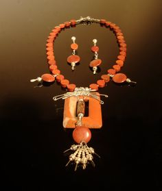 Red jasper necklace and earrings with an by DahyiitihiArts on Etsy