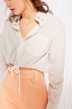Urban Renewal Recycled Spliced Striped Button-Down Shirt | Urban Outfitters