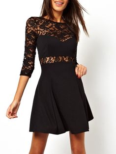 Black Hollow Out Lace Patchwork Alluring Round Neck Skater Dress