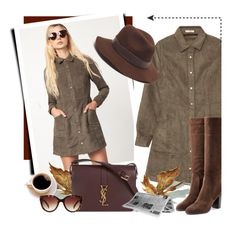 """Olive Dress"" by acommonspace ❤ liked on Polyvore featuring Gottex, Sergio Rossi, Yves Saint Laurent and Forever 21"