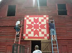 """The Linney Family Barn features one QUILT BLOCK PATTERN  from """"Stepping Stones"""" or """"Good Cheer."""" The quilt was made by Elsie Clark Linney within sight of this barn, c. 1945 in Alexander County. The quilt is currently owned by the maker's son, Gene Linney and family of Taylorsville."""