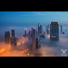 Daniel Cheong Cloud City Shot from Burj Khalifa, during last Christmas Day. The massive tall building on the right (The Index Tower designe. Dubai Skyscraper, Dubai City, Sharjah, Abu Dhabi, Voyage Dubai, Cool Pictures, Cool Photos, Amazing Photos, Dubai Travel Guide