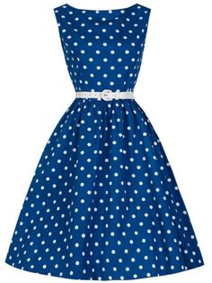 robe à pois -bleu