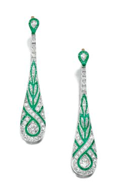 EMERALD AND DIAMOND EAR PENDANTS (Sotheby's)