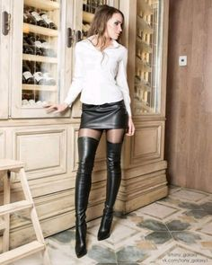 Pin on hot women Thigh High Boots, High Heel Boots, Heeled Boots, Sexy Boots, Cool Boots, High Leather Boots, Leather Skirt, Mini Skirt Dress, Mini Skirts