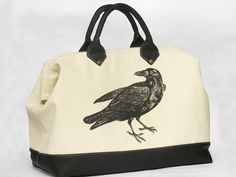 Raven Canvas and Leather Tote Extra Large by pluckykid on Etsy, $160.00