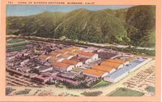 Burbank California Warner Brothers  Linen Postcard  Unused