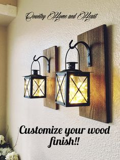 This Set of Hanging Lantern SconcesFarmhouse Wall Decor Lantern is just one of the custom, handmade pieces you'll find in our wall hangings shops. Rustic Kitchen Design, Rustic Bathroom Decor, Farmhouse Wall Decor, Rustic Wall Decor, Country Decor, Rustic Farmhouse, Industrial Farmhouse Decor, Farmhouse Table, Industrial Design