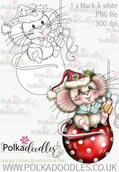 Kit & Clowder class - Noel the Christmas Mouse - Polkadoodles Ltd Christmas Colors, Christmas Art, Christmas Decorations, Christmas Ornaments, Whimsy Stamps, Digi Stamps, Christmas Drawing, Christmas Paintings, Painting Patterns