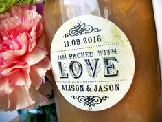Vintage Jam Packed with Love Wedding Bridal Shower canning jar labels, custom personalized cottage chic round stickers for jam jar favors