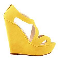 Loslandifen Womens Faux Velvet Platform High Heels Sandals Peep Toe Wedges Wedding Shoes(391-10VE38,yellow)