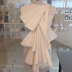 Angular Pleating and Layering, draping on mannequin - Fashion Design Development in the workshop. Experimental Pattern Cutting by Aymie Black