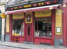 Façade de l'estaminet le Rijsel dans le Vieux-Lille