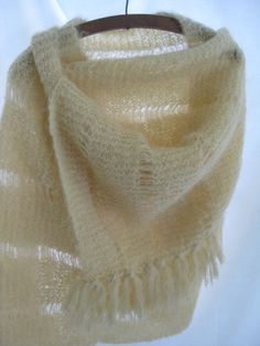 Vintage giant hand knit cream mohair shawl, hand knit wrap, chunky ivory wool shawl, oversized winter shawl, traditional, wedding shawl…