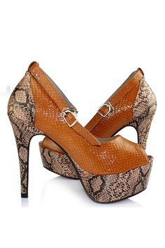Snake Skin Printing Contrast Colored Sandals