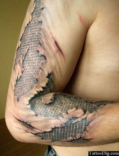 Surreal 3D Script Arm Tattoo