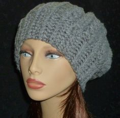Crochet Slouch Beanie, Slouchy Hat, Winter Fashion, Slouch Beanie - True Grey by berly731 on Etsy