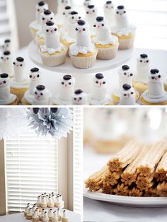 Winter themed party, sledding then hot chocolate and snowman cupcakes after!