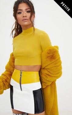 Petite Yellow Contrast Vinyl Mini SkirtGirl get lust-worthy vibes with this smokin' hot mini skir...