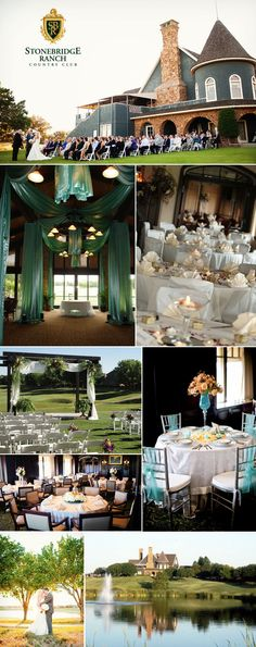 Stonebridge Ranch Country Club,  located in McKinney, Texas, is the perfect place for an intimate, outdoor wedding. Surrounded by a beautiful 18-hole golf course, quaint ponds, and lavish green trees, this venue is sure to make your special day relaxed and perfect.     Photography: Allison Davis Photography (top, fourth row left, bottom row left), Josh Litrell Photography (second row right).    #wedding #venue #ceremony #location #reception