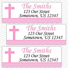Pink Cross Baptism Christening First Holy Communion  - Personalized Address labels, Stickers by sharenmoments on Etsy