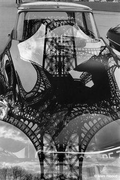 Marc Riboud - Eiffel Tower reflection on DS hood, 1964. S)……réepinglé par Maurie Daboux۰⋱‿✿╮