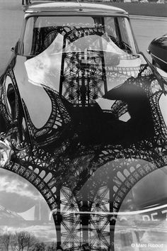 Marc Riboud - Eiffel Tower reflection on DS hood 1964