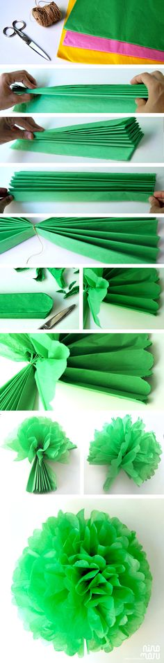 ▷ ideas on how to make paper flowers- ▷ Ideen, wie Sie Papierblumen basteln können craft ideas with paper. Fold big flower from green crepe paper - How To Make Paper Flowers, Tissue Paper Flowers, Diy Y Manualidades, Diy And Crafts, Paper Crafts, Paper Pom Poms, Ideas Para Fiestas, Big Flowers, Diy Party