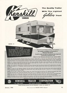 Vintage Literature Reproductions : 1960 – Kenskill Travel Trailer ~ RV Camper Magazine AD – Famous Last Words Vintage Campers Trailers, Vintage Caravans, Rv Campers, Cool Rvs, Camping Set Up, Vintage Rv, Famous Last Words, Magazine Ads, Vintage Advertisements