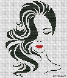 Стильная девушка №7 Люди Монохром Схема для вышивки scheme for cross stitch