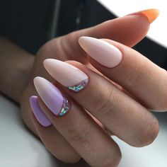 Ombre purple nails with shattered glass on the edge